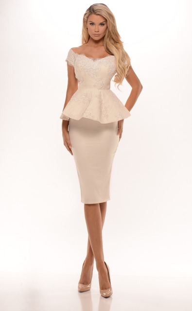 2016 New Champagne Short Knee Length Off The Shoulder Peplum Bridesmaid Dresses Sheath Pencil Skirt  Beaded Lace Appliques