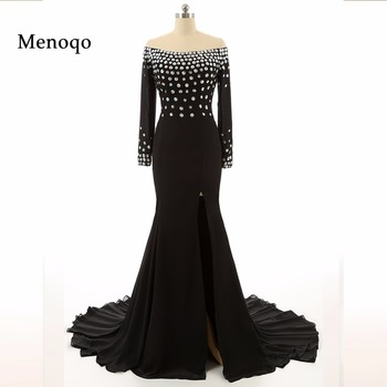 7118W  Hot High Quality Evening Dress Black Elegant Beaded Chiffon Sexy High Split Long Sleeve Prom Dresses Real Photos