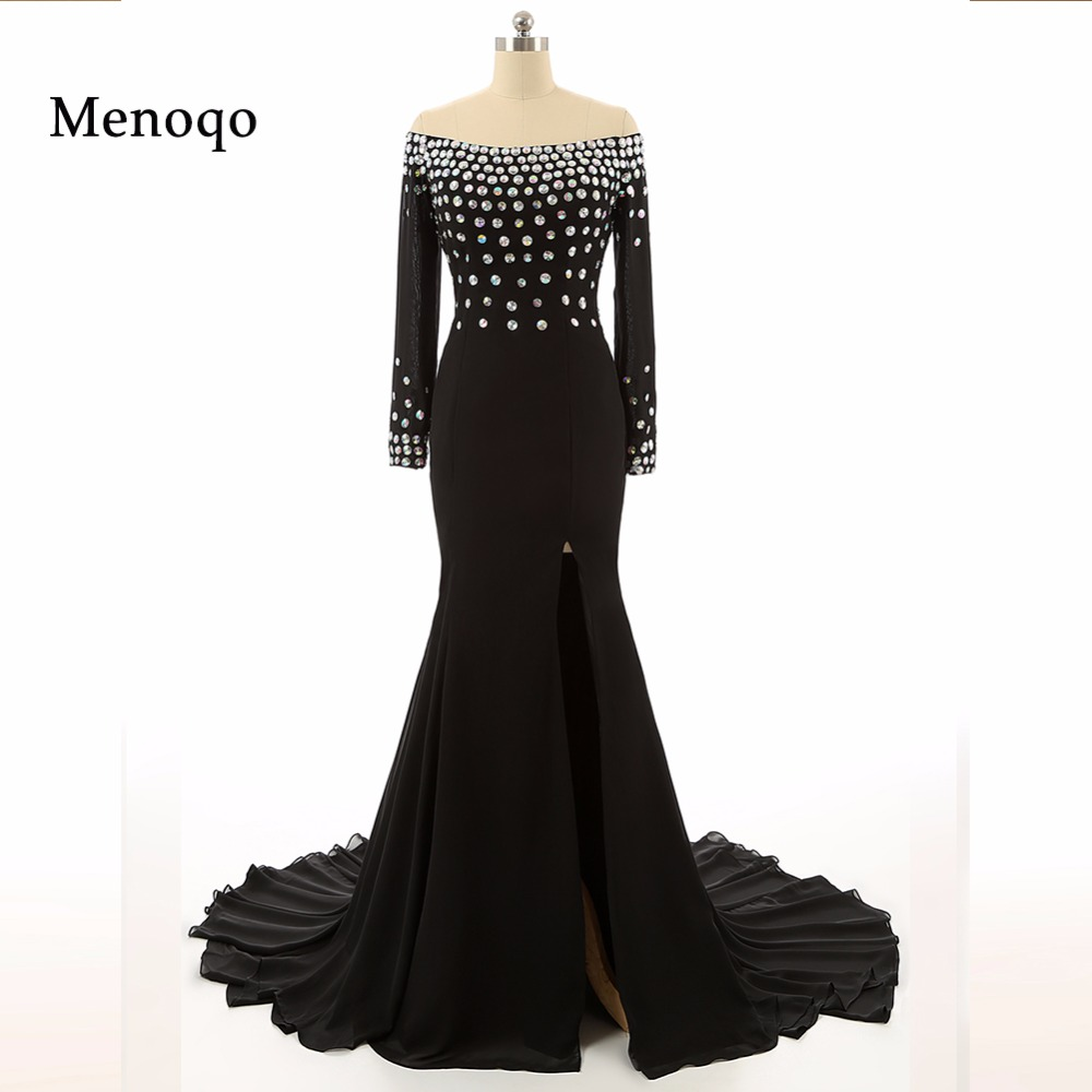 7118W Hot High Quality Evening   Dress   Black Elegant Beaded Chiffon Sexy High Split Long Sleeve   Prom     Dresses   Real Photos