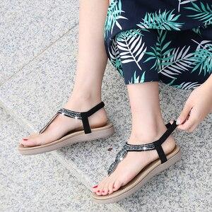 Image 5 - BEYARNEGladiator Thong Sandals 2019 Women Summer Platform Flats Faux Rhinestone Slip On Solid Creepers Casual ShoesE667