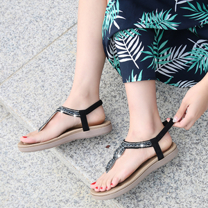 Image 5 - Beyarnegladiator tanga sandálias 2019 mulher verão plataforma apartamentos falso strass deslizamento em sólida creepers casual shoese667