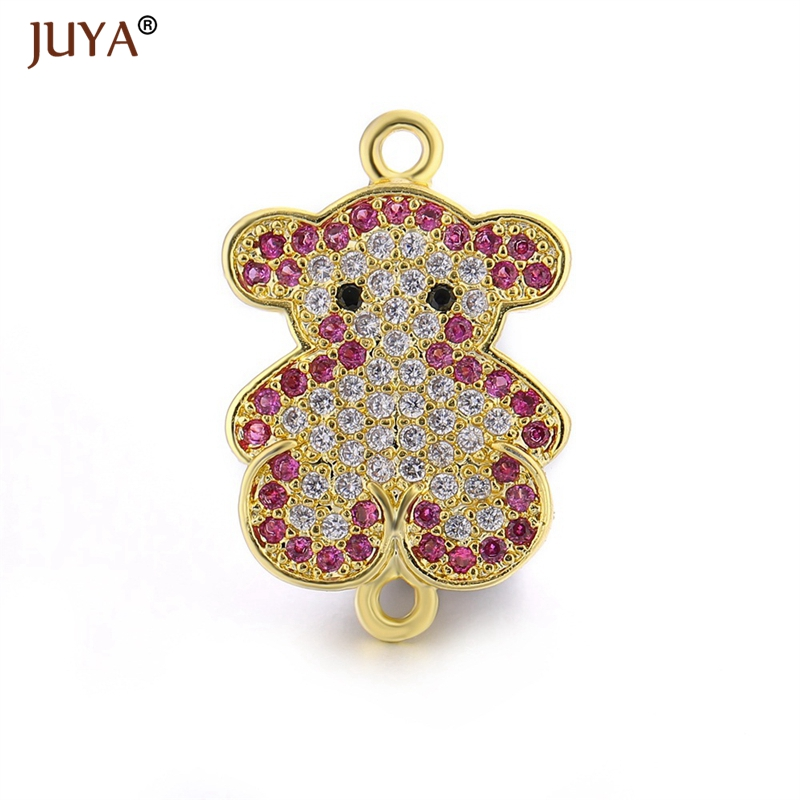 Accessories For jewelry findings components cubic zirconia rhinestone cute bear charms connectors for making bracelets necklace