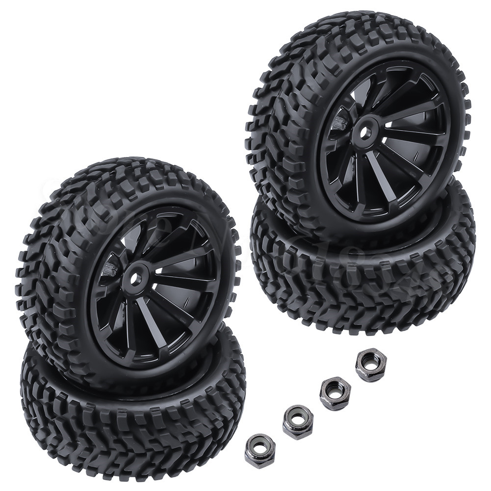 4-Pack 2.99 inch / 76mm Rubber 1:10 RC Rally Car Tires & Wheel Rims Set foam inserted M4 Locknut 12mm Hex Hub стоимость