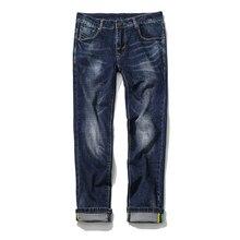 2017 мужская мода досуга прямые эластичные джинсы мужские брюки высокое качество 100% хлопок Свободный стиль джинсы мужчин Супер размер 29-46