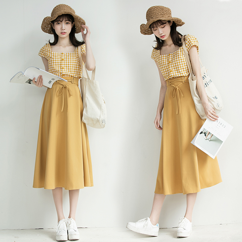Chic Fashion Two-piece Casual Suits Female Summer 2018 Women Yellow Red Plaid T Shirt A Line Skirt Sets Retro Midi Skirt Suits 8