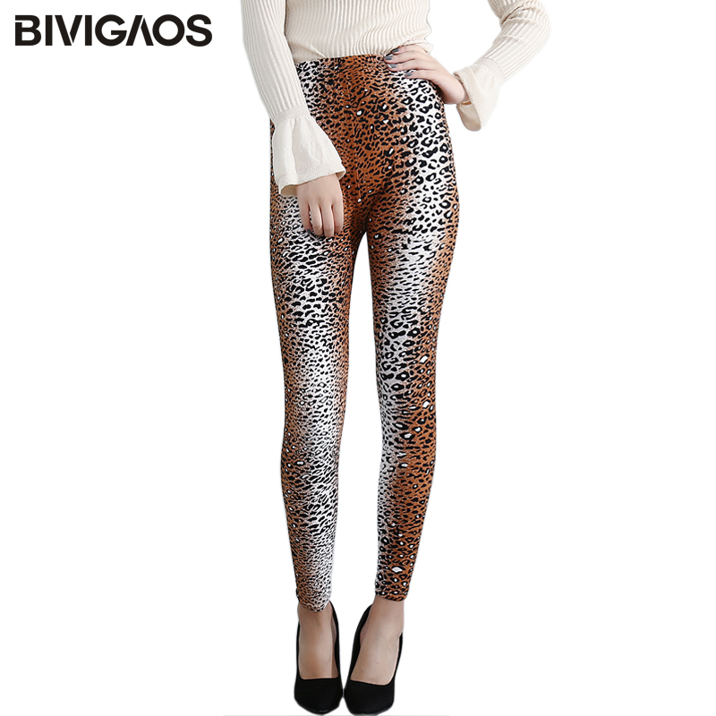 BIVIGAOS Summer Spring Womens Printing Leopard   Leggings   Sanding Milk Silk   Legging   Pants High Stretch Thin Slim   Leggings   Women