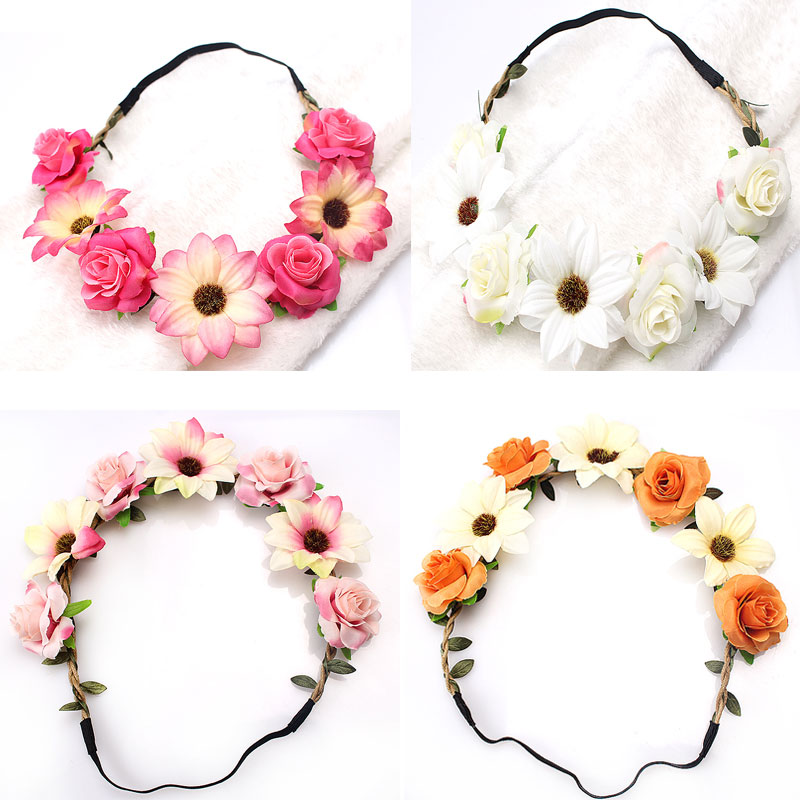 M MISM Rose Flower Wreath Elastic Hair bands for Women Girls Headband Hair Accessories Ornaments Garland Wedding Bridal lnrrabc 12pcs pack elastic hair bands headband stretchy hair rope rubber bands hair accessories for accessoire cheveux