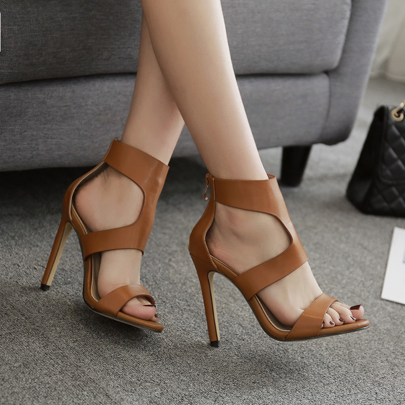 Women High Heels Office Shoes Women Sandals Women Cross Strap Brown Black Shoes Pu Leather Boots
