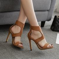 Women High Heels Office Shoes Women Sandals Women Cross Strap Brown Black Shoes Pu Leather Boots Sandals Pump Heels For Women