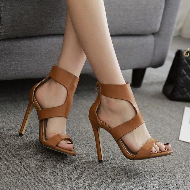 c81a43dcea3 Women High Heels Office Shoes Women Sandals Women Cross Strap Brown Black  Shoes Pu Leather Boots Sandals Pump Heels For Women