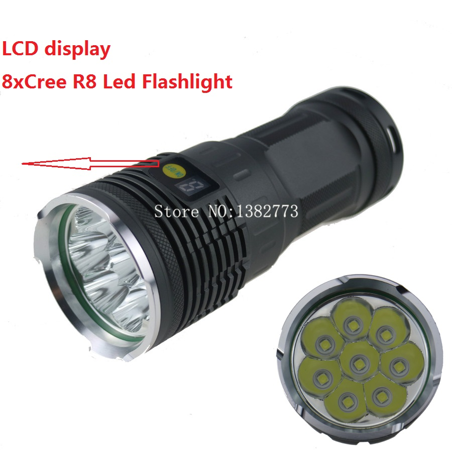 Sky ray King 8R8 Tactical Bike Lamp Torch 8x Cree XM-L R8 12000 Lumens 4 Modes LED Flashlight With LCD Display By 18650 Battery 3800 lumens cree xm l t6 5 modes led tactical flashlight torch waterproof lamp torch hunting flash light lantern for camping z93
