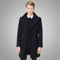 British Style 2015 Mens Double Breasted Pea Coat Male Manteau Homme Overcoat Winter Wool Coat Men