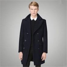 Британский Стиль 2016 Мужская Двубортный Бушлат Мужской Манто Homme Пальто Зимой Шерстяное Пальто Мужчины Долго Пальто A752