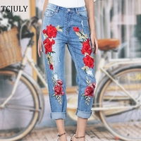 TCJULY 2018 Fashion Jeans With Embroidery Red Rose Flowers Decorated Ripped Jeans For Women Streetwear Casual