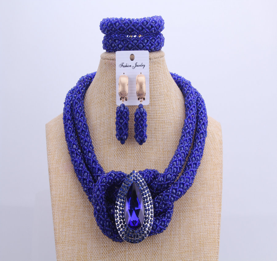 Chunky Women Royal Blue African Beads Bridal Jewelry Sets For Wedding Nigerian Beads Necklace Earrings Bracelet Set Of Jewelry a suit of chic faux turquoise beads necklace and earrings for women