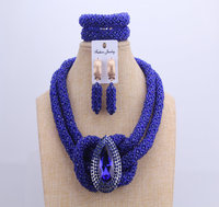 Chunky Women Royal Blue African Beads Bridal Jewelry Sets For Wedding Nigerian Beads Necklace Earrings Bracelet Set Of Jewelry