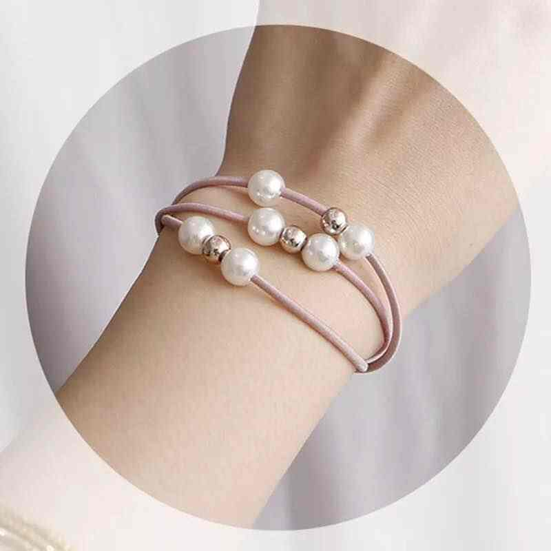Pearl Elastic Force หัวเชือก Simple Multi-layer เชือกผมเจ้าหญิงหางม้าผมแหวนยางวงดนตรีเด็กของขวัญ