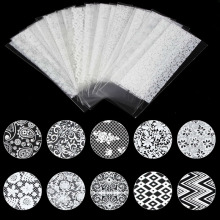 21 Sheet 20cm*4cm White Lace Flower Nail Transfer Foil Beauty Nail Art Foil Sticker Decal Nail Tip Decoration Supplies WY581