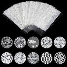 цена на 21 Sheet 20cm*4cm White Lace Flower Nail Transfer Foil Beauty Nail Art Foil Sticker Decal Nail Tip Decoration Supplies