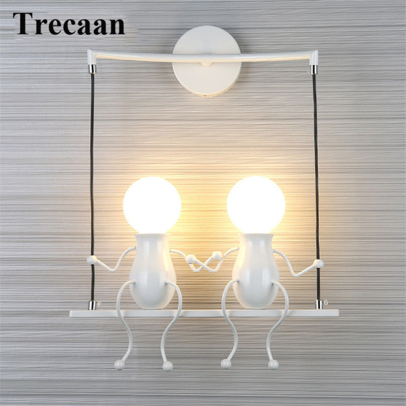 Modern Cartoon Doll Wall Light LED Creative Mounted Iron Sconce Lighting Lamp for Kids Baby Room Living Room Bedroom Decoration modern creative iron wall lamp living room bedroom bedside wall lamp led lighting led lamp wholesale creative hotel
