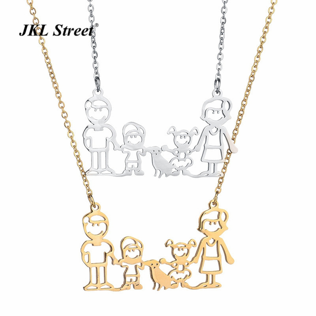 Gift for mother father 2 children pet family pendant necklace stainless steel gold silve cute family jewelry for mother mom in pendant necklaces gift for mother father 2 children pet family pendant necklace stainless steel gold aloadofball Images