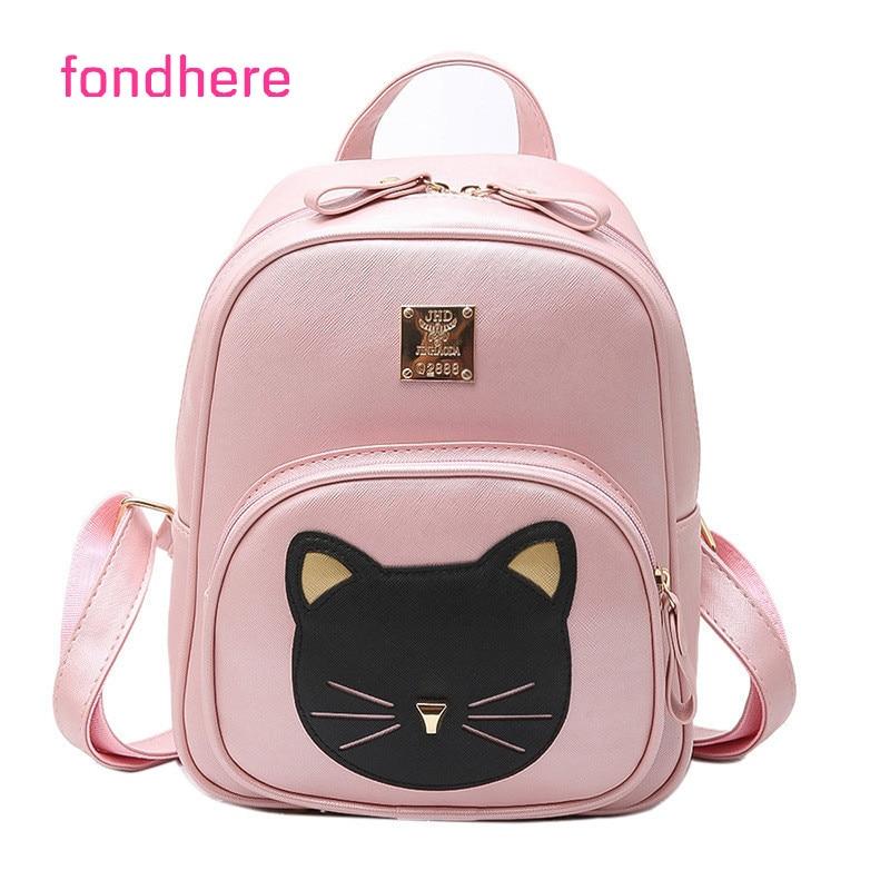 fondhere 2017 Women Backpack Cute Cat Shoulder Bags For Girls PU Leather Ladies Feminine Fashion Backpack School Style