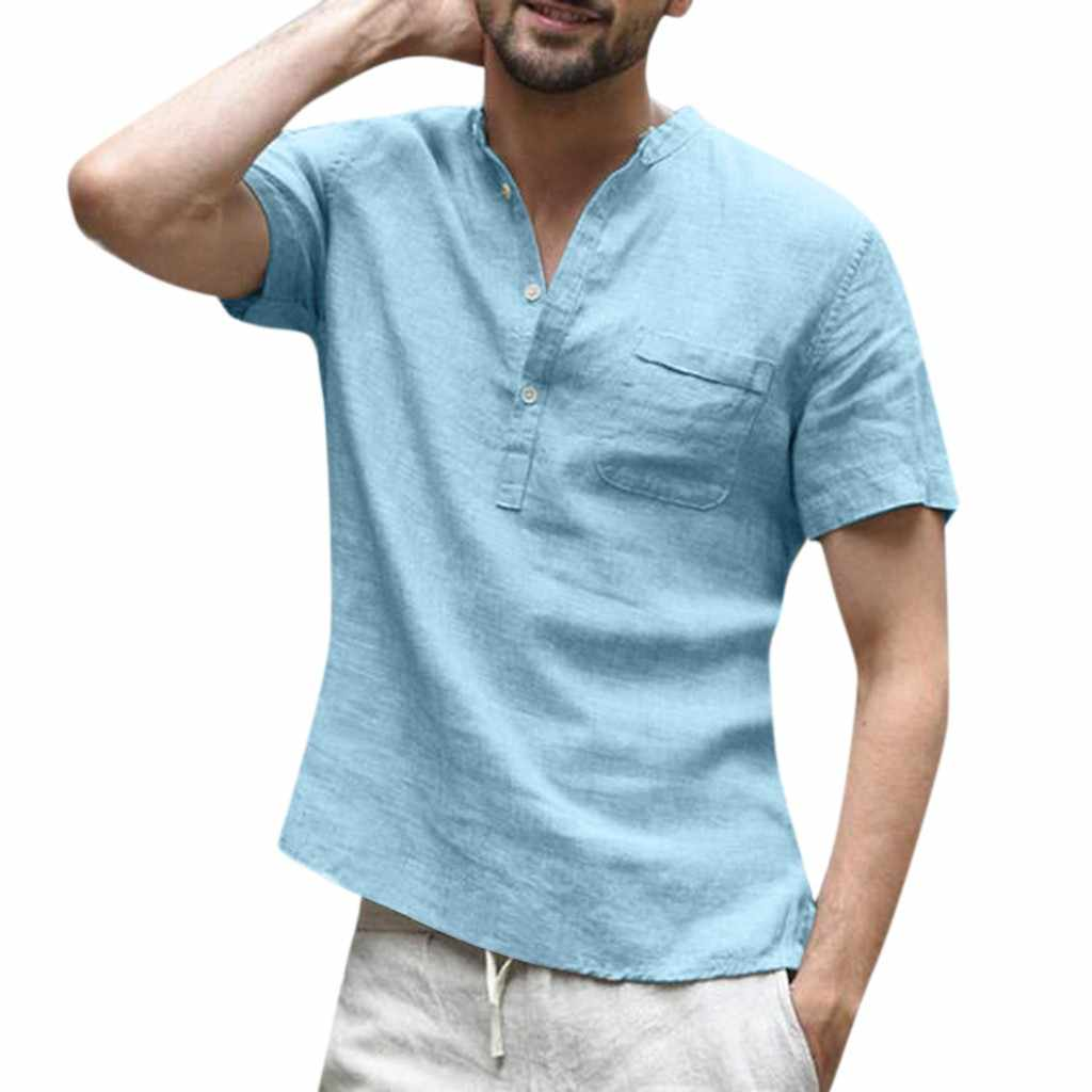 b2fe84be2 ... Womail Shirt Men summer fashion Short-sleeved Baggy Cotton Linen Solid  Button Beach Shirts Daily ...