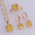 Exquisita Imitación Amarillo Citrino y Cubic Zirconia Square Oro Amarillo Plateó el Aro Pendientes de La Joyería Sets SX0187