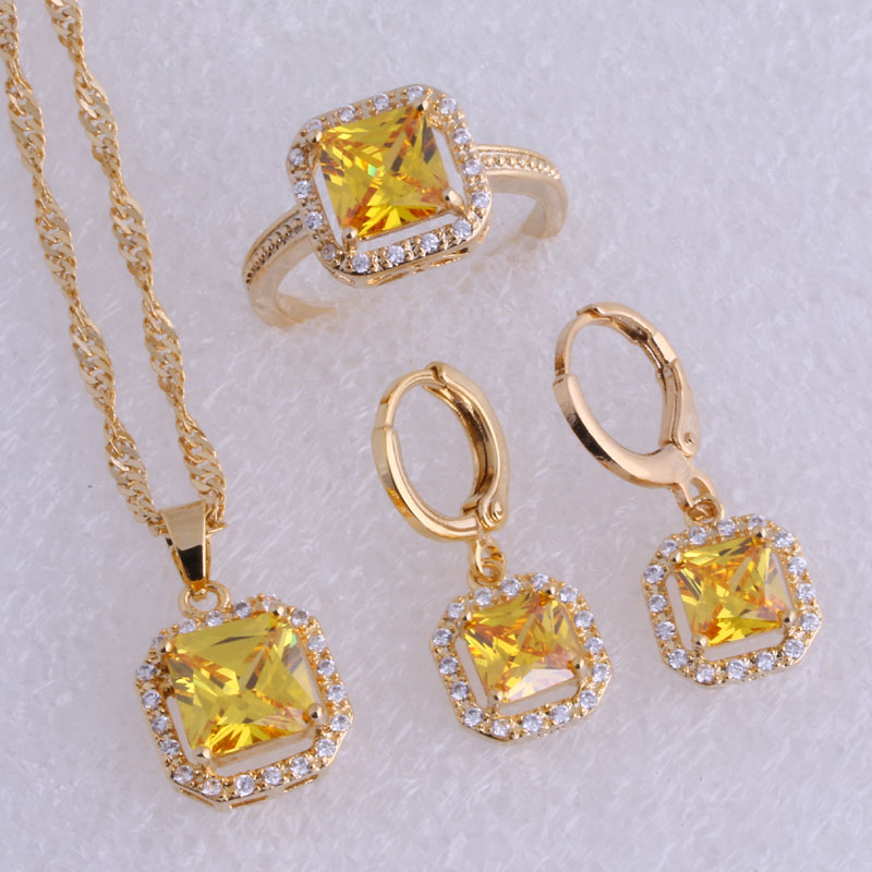 Love Monologue Exquisite Yellow Crystal & Cubic Zirconia Square Yellow Gold Color Hoop Earrings Jewelry Sets SX0187