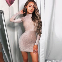 2018 New Chic Luxe Top Design Pearl Embellished Long Sleeves Wholesale Women Celebrity Party Wear Sexy Mini Dress Q 1