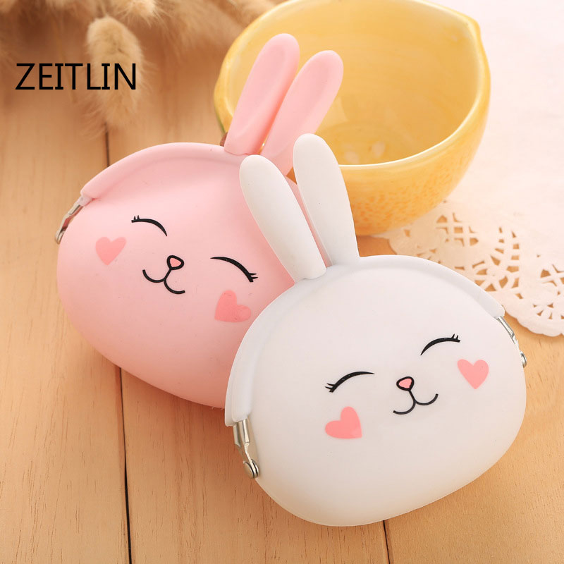 ZEITLIN New Fashion Coin Purse Lovely Kawaii Cartoon Rabbit Pouch Women Girls Small Wallet Soft Silicone Coin Bag Kid Gift T1273