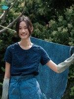 LinenAll оригинальные женские синий окрашенные 100% лен с короткими рукавами летняя футболка Круглый воротник хлопок и лен Топ женский