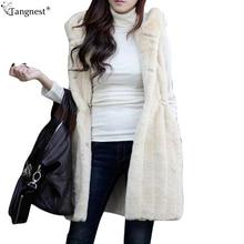 TANGNEST Faux Rabbit Fur Belted Vest 2016 Fashion Beige Black Winter Coat Woman Warm Loose Casual Hooded Outwear Plus SizeWWV326
