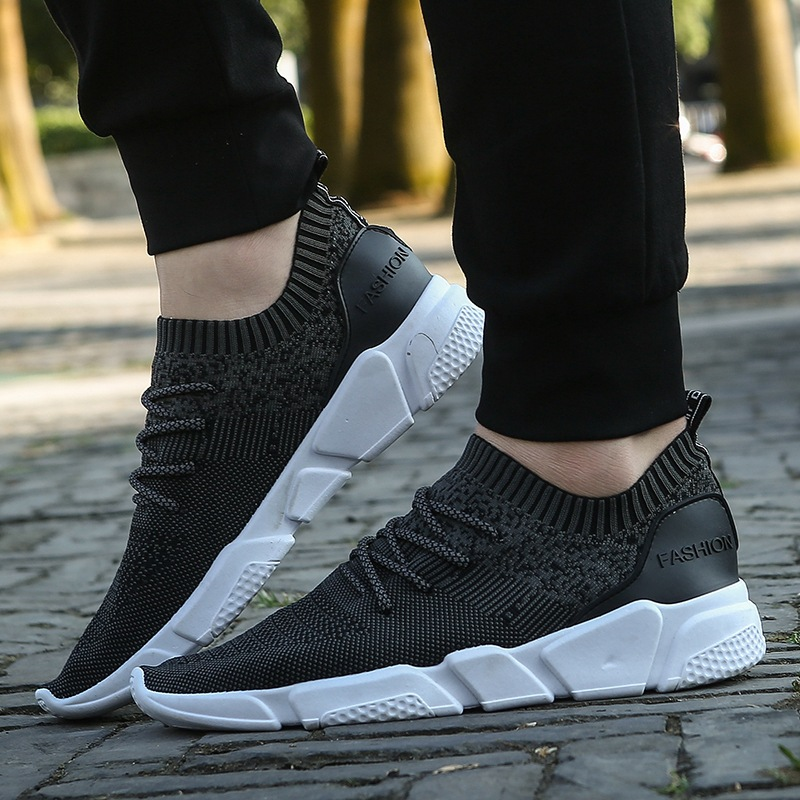 2018 summer new soft bottom breathable fly weave men shoes Outdoor comfort male sports shoes flat running shoes basket femme