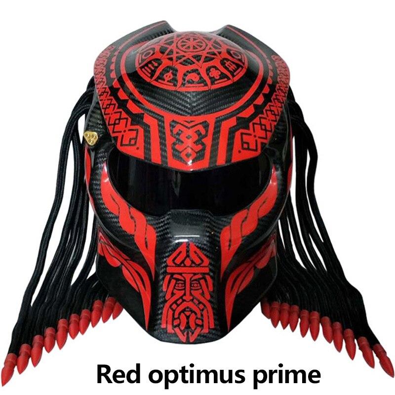Novo Predador de fibra de carbono capacete da motocicleta rosto cheio capacete de moto capacete demônio halloween Franjas Tranças Pretas