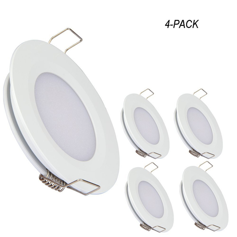 Topoch <font><b>LED</b></font> Panel <font><b>Downlight</b></font> 4-Pack Spring Clip Mount <font><b>12V</b></font> Full Aluminium Ultra Thin 3W for RV Boat House Nickel Silver White image