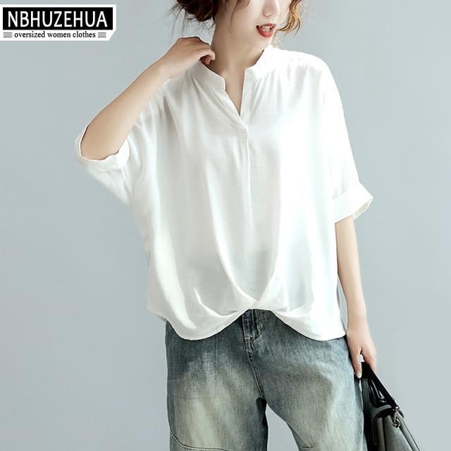 3a2a839e648 NBHUZEHUA A319 Women s Simple Style Office White T Shirt V-Neck Black Top  Plus Size Women Clothing Loose Tshirts 4XL 5XL 6XL