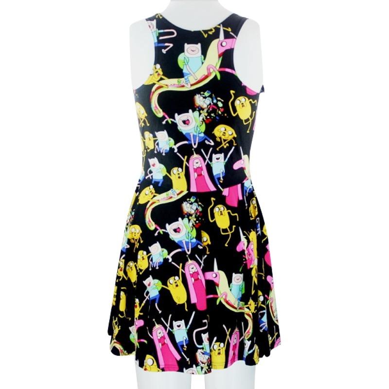 VI модные X-208 новинка летнее платье Для женщин из мультфильма «Время приключений» платье с принтом Для женщин платье с коротким и широким подолом