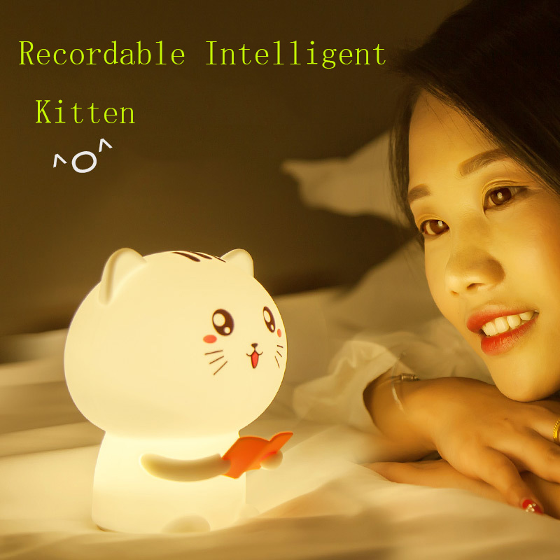 Sound Recording Cat LED Silicone Lamp Silicone Touch Sensor Tap Remote Control Nightlight USB Rechargeable Colorful Bedside Lamp