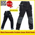 Высокое Качество Работы мужчин брюки-карго мульти-карманы черный брюки рабочие брюки спецодежда бесплатная доставка
