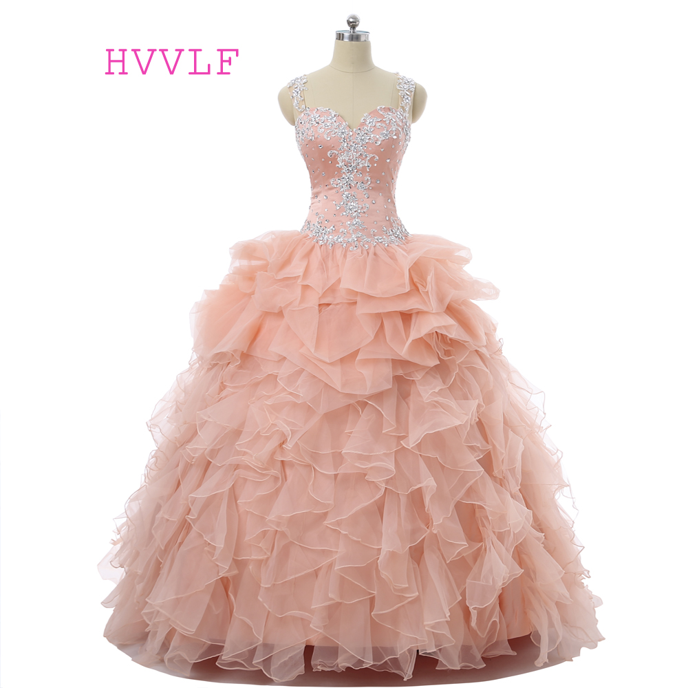 Peach Quinceanera Dresses 2017 Ball Gown Sweetheart Floor Length Organza Ruffles Crystals Lace Cheap Sweet 16 Dresses