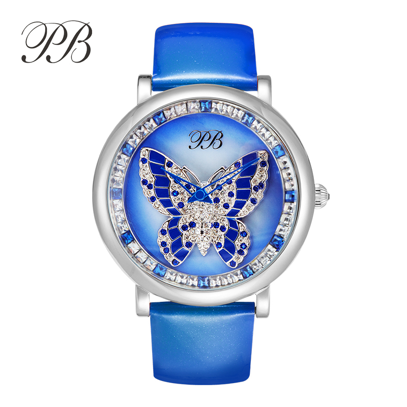 2016 New Arrival Famous Brand Princess Butterfly Element Crystal Watch Blue B Rotate Lady Luxury Rhinestone Watch