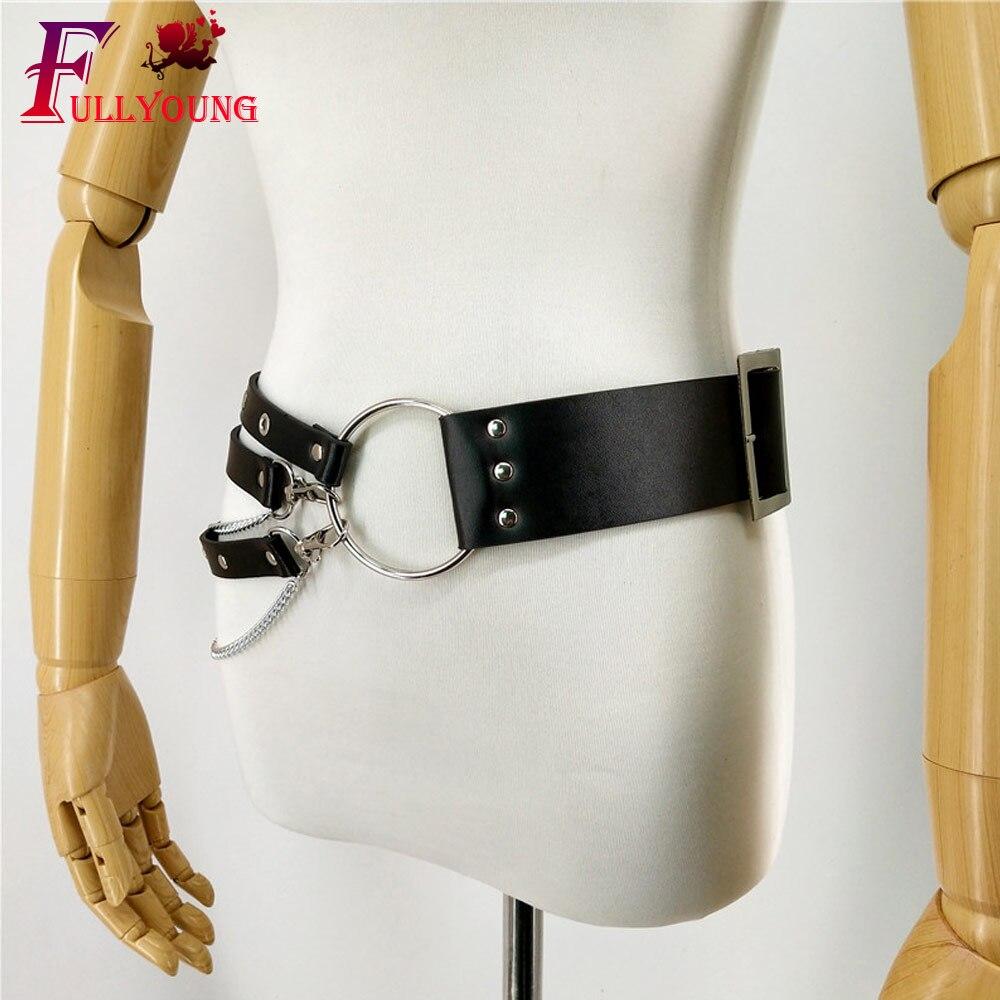 Fullyoung Harness Leather Chain Belt Pole Dance Stockings Wedding Garters Belt Bdsm Goth Sexy Suspenders Adjustable Straps in Garters from Underwear Sleepwears