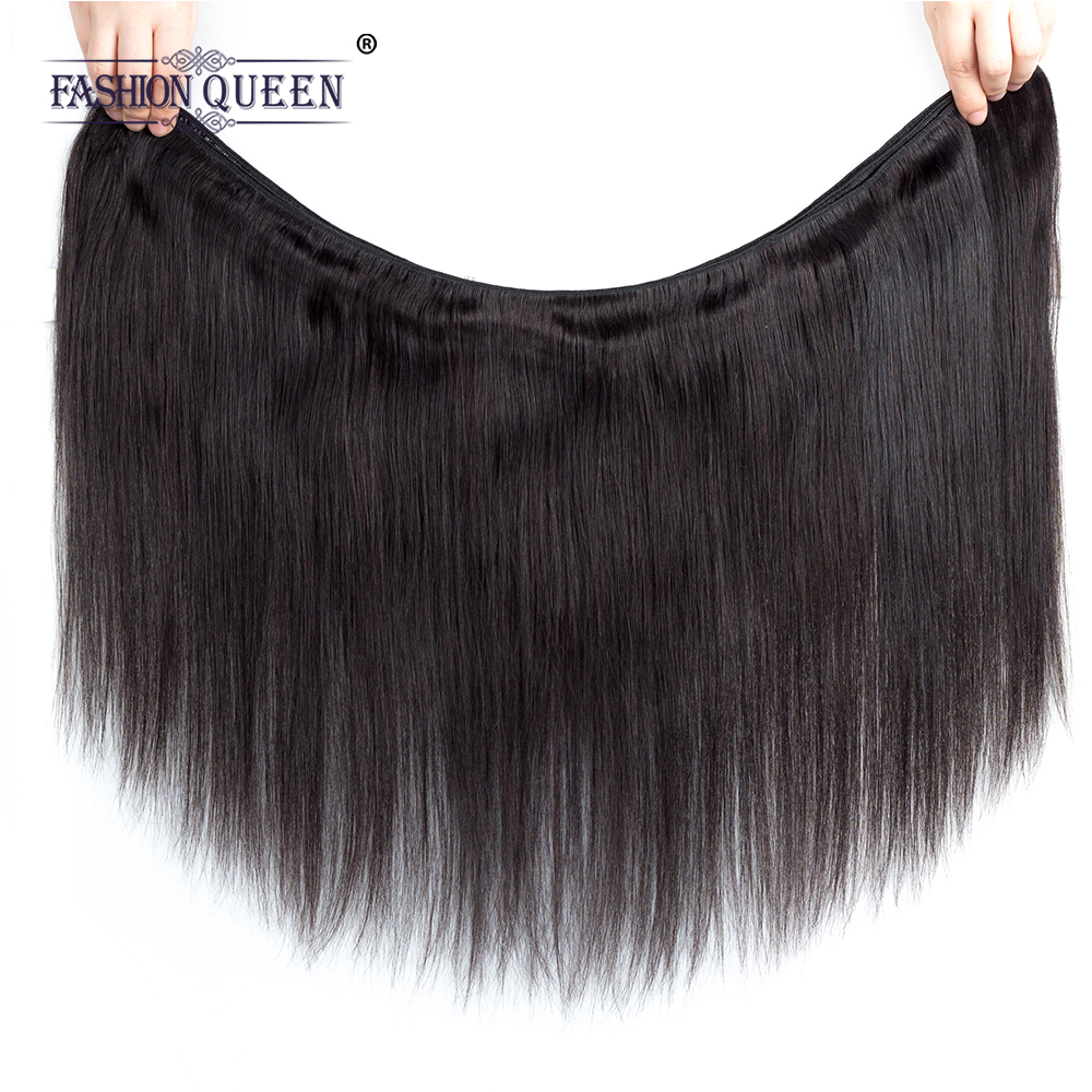 Fashion Queen Hair Vietnamese Straight Hair Bundles With Closure Non-remy Human Hair 3 Bundles With Lace Closure Natural Color