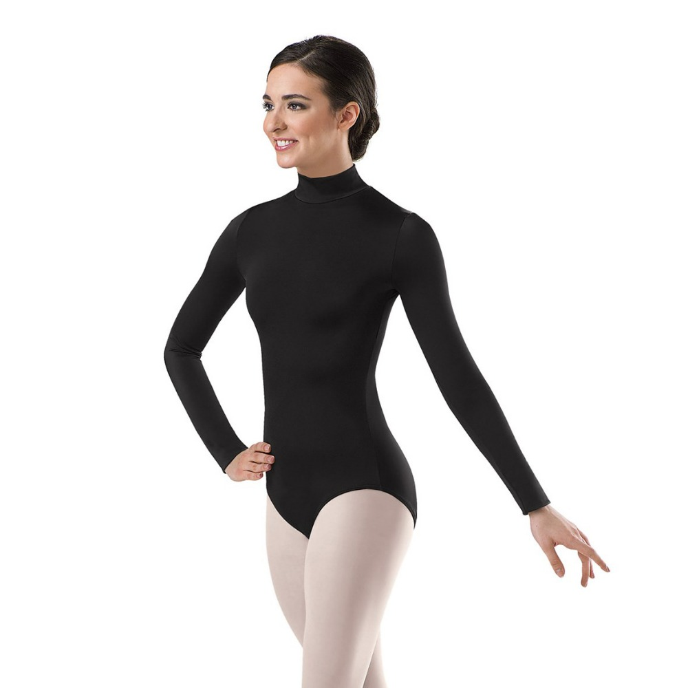 Speerise Women Long Sleeve Black Leotard Turtleneck Ballet Dancewear Lycra Spandex Leotards Bodysuit Gymnastics Costumes Leotard