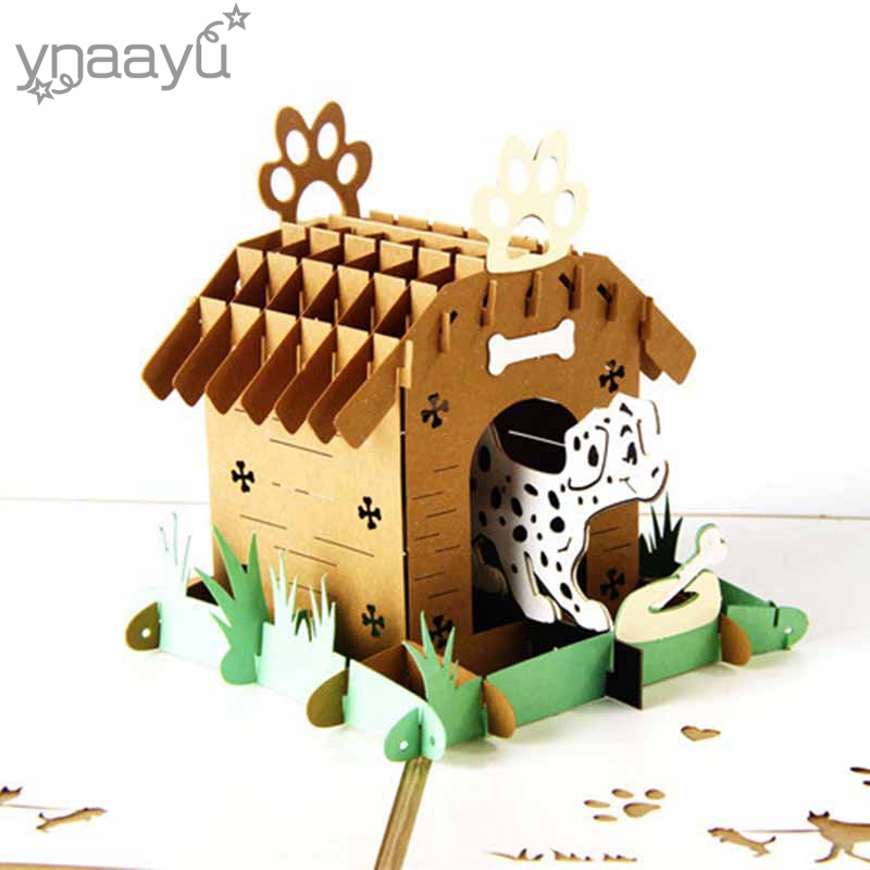 Ynaayu 1pcs 3D Lovely Dog With House Greeting Cards Handmade Design Best Gift For Baby Cute Cartoon Cards Party Supplies
