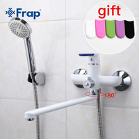 Frap 1set Modern Style Bathtub Faucet Wall Mounted bathroom shower faucets set Cold and Hot Water Mixer Tap 35cm Long Nose F2234