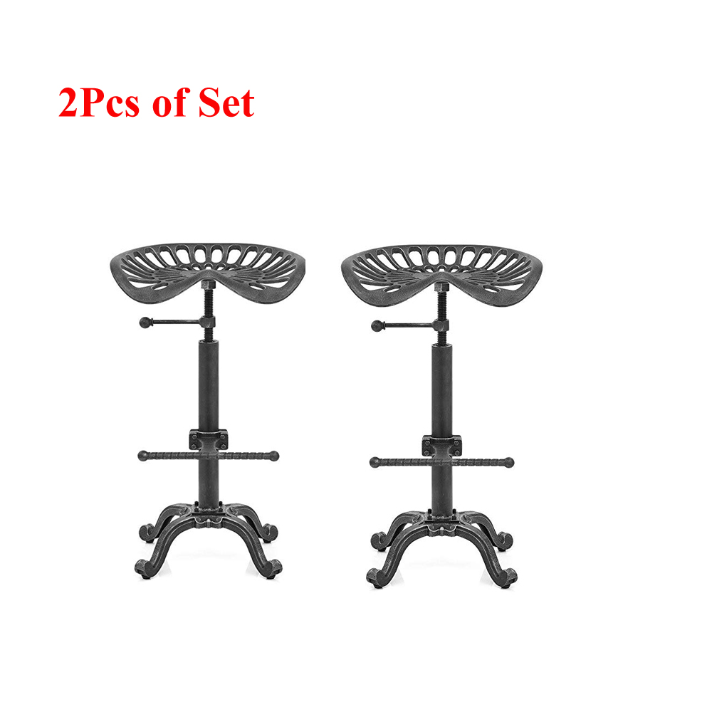 2Pcs Of Set Industrial Bar Stool Swivel Tractor Saddle Chair Height Adjustable Count Height Bar Chair