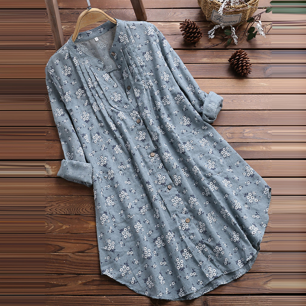 Harajuku V-Neck Pleated Floral Print Long Sleeve Casual ladies Top