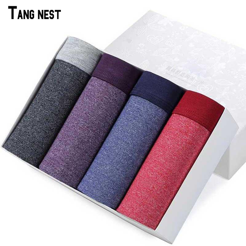 TANGNEST Male Cotton&Linen Underwear Mens Solid Boxer Shorts Convex Crotch Soft Underwear Male NNP218